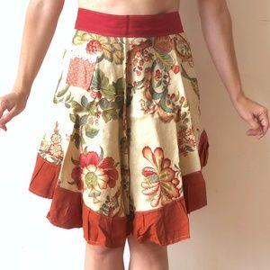 Handmade Floral Paisley Linen Half Apron